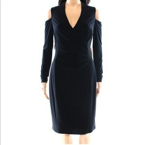 New Ralph Lauren Black Cold Shoulder Sheath Dress
